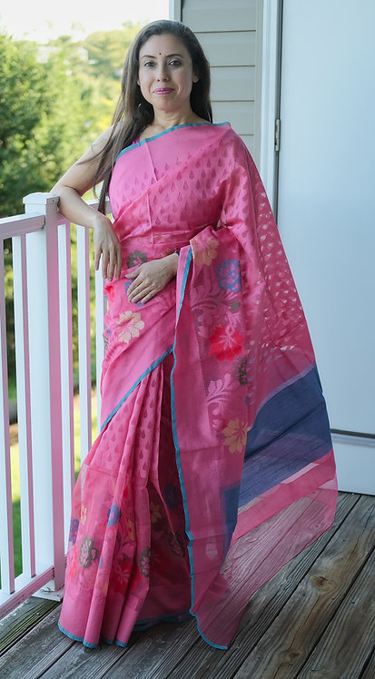 Banarasi Jute Net Saree in Pink and Blue