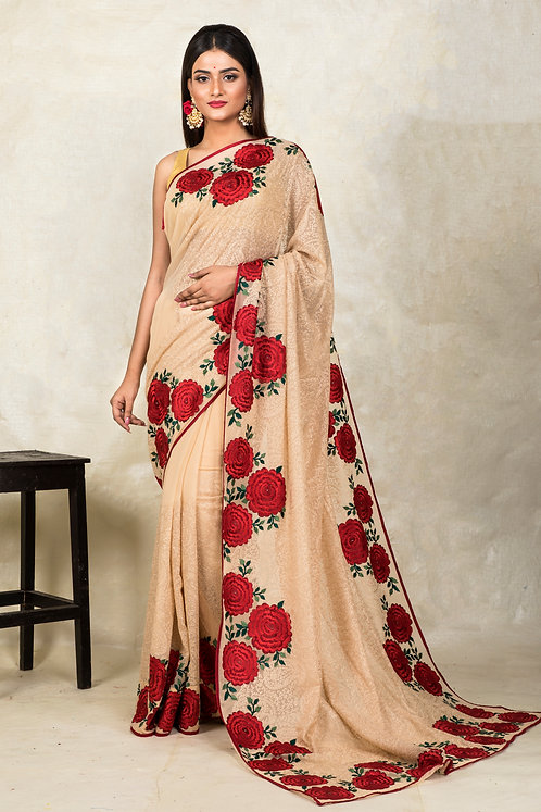 Embroidery Thread Work in Georgette Saree in Beige and Red