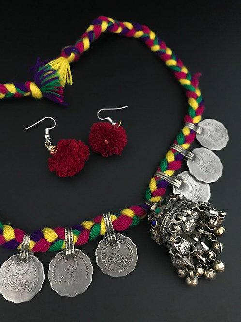 Afghan Coin Necklace with Jhumka Pendant