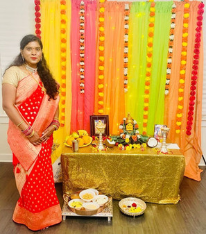 Laxmi from New Jersey looking fabulous in her Crepe Georgette Banarasi Saree from Bengal Looms