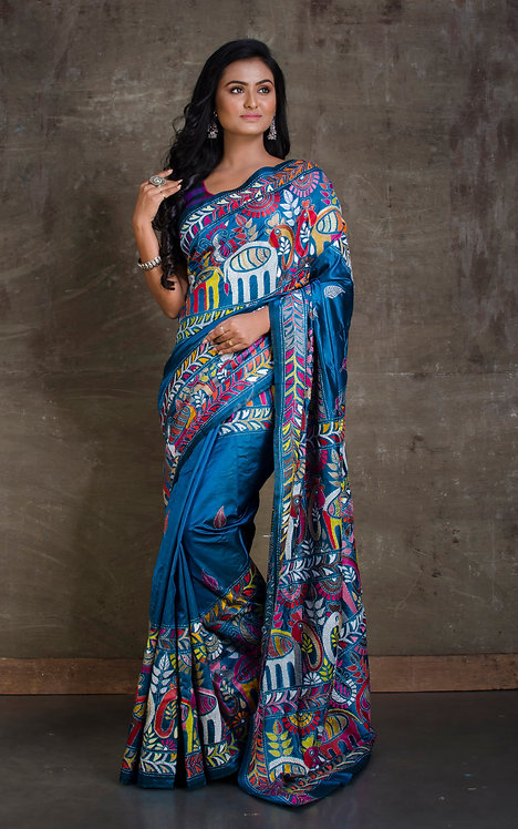 Hand Embroidered Kantha Stitched Silk Saree in Blue