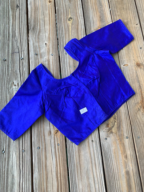 Royal Blue Raw Silk Designer Blouse in Size 40