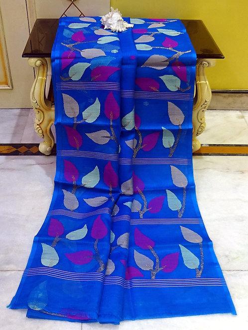 Muslin Jamdani Saree in Prussian Blue