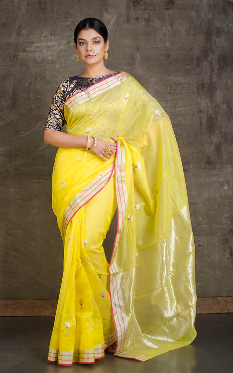 Pure Mina Work Chanderi Silk Cotton Saree in Yellow and Silver