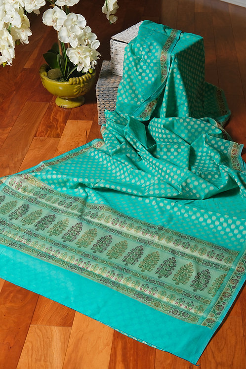 Soft Cotton Banarasi Saree in Light Rama Green