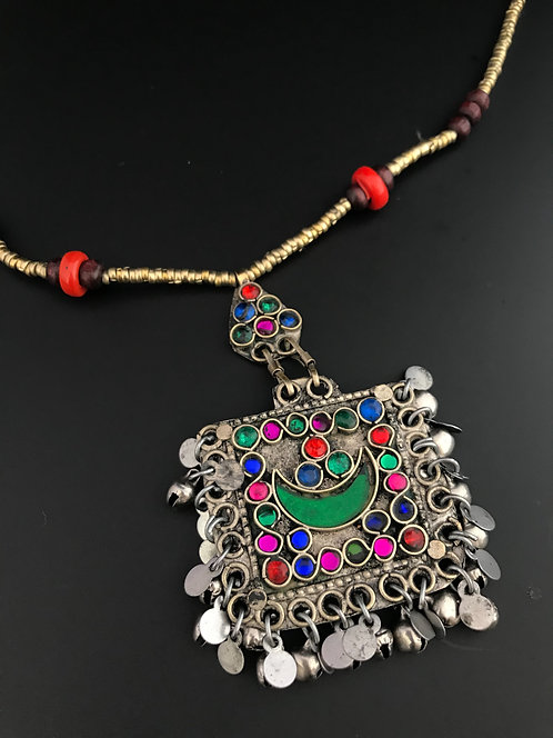 Tribal Afghan Pendant Necklace