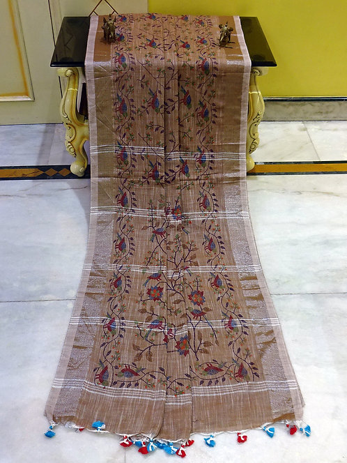Printed Soft Woven Cotton Linen Saree in Peanut Brown and Silver