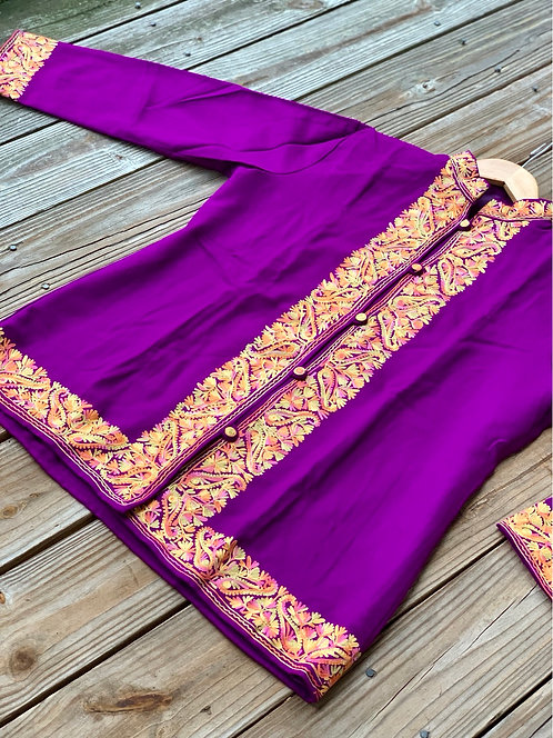Purple Kashmiri Embroidered Coat in Size XL