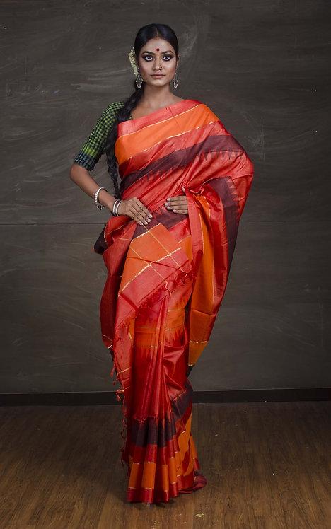 Pure Tussar Silk Saree in Rusty Orange