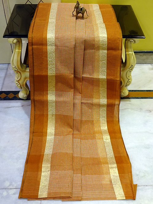 Bengal Handloom Cotton Micro Checks Saree with Starch in Mustard Brown and White