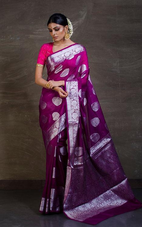 Semi Georgette Banarasi Saree in Dark Purple and Silver