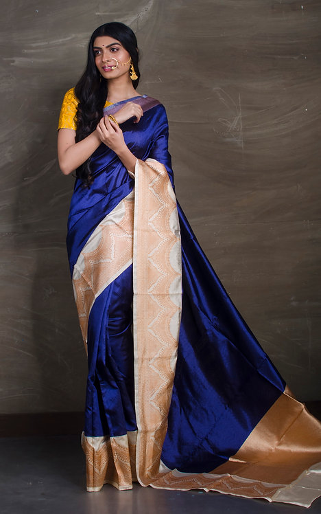 Pure Katan Silk Tanchoi Banarasi Saree in Midnight Blue and Off White
