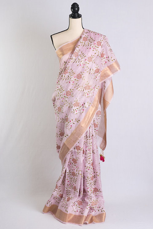 Embroidery Silk Linen Saree in Pink and Gold