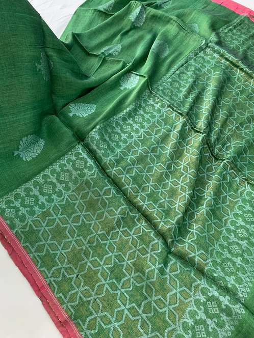 Pure Silk Linen Saree in Green and Silver