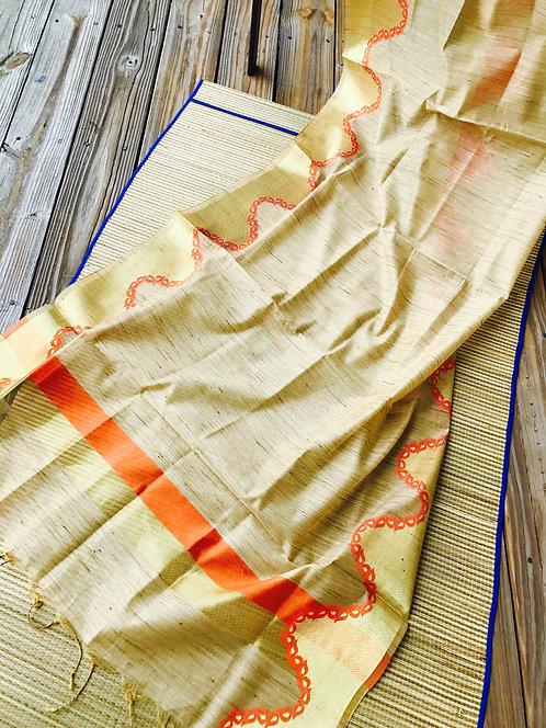 Cotton Silk Banarasi Dupatta in Beige and Gold