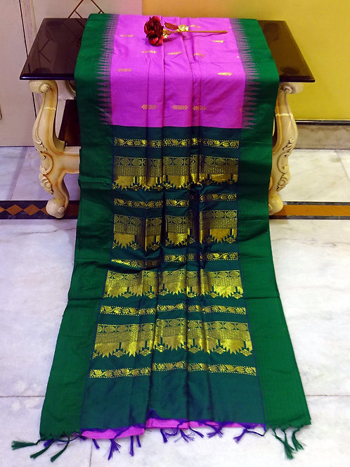 Soft South Cotton Gadwal Saree in Pink and Green