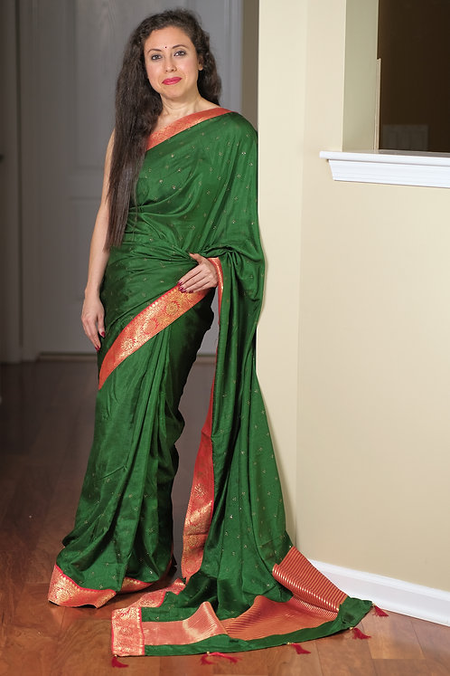 Semi Tussar Embroidery Saree with Stones in Emerald Green and Red