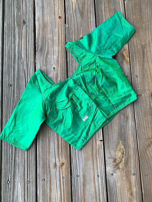 Banana Leaf Green Silk Saree Blouse in Size 34