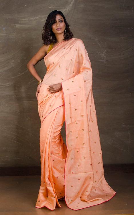 Art Silk Embroidery Work Saree in Peach