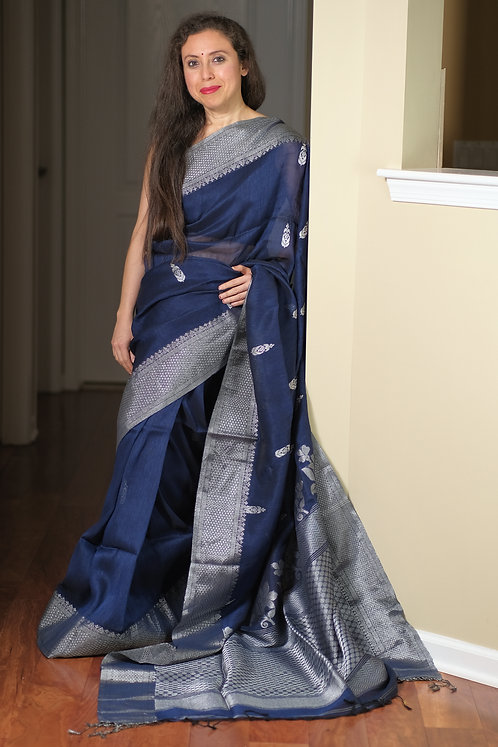 High Thread Count Linen Saree in Blue and Silver