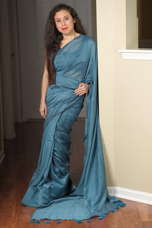 Soft Cotton Saree in Denim Blue