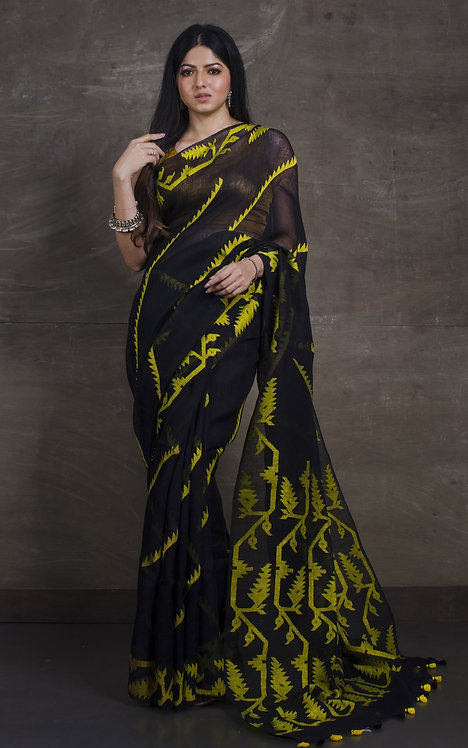 Exclusive Karat Linen Jamdani Saree in Black and Fluorescent Yellow