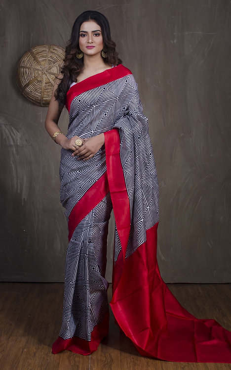 Contemporary Printed Pure Silk Saree in Black, White and Red