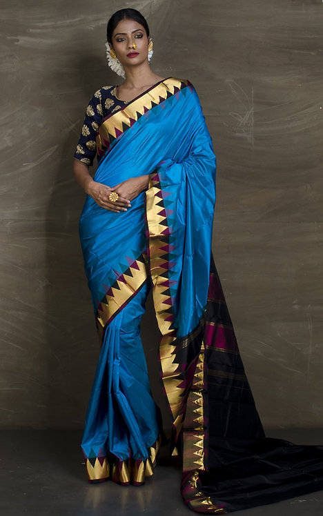 Temple Border Pure South Silk Saree in Blue in Gold