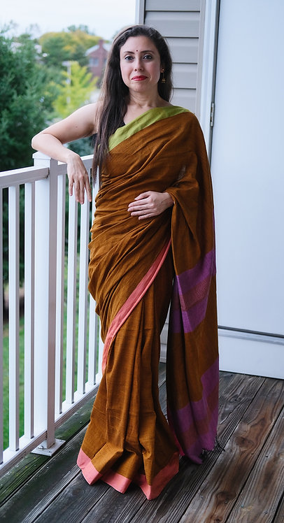 Linen Saree with Ganga Jamuna Border in Brown, Green and Pink