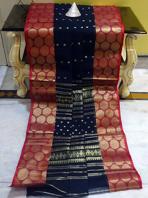 Bengal Handloom Cotton Saree with Starch in Black, Dark Red and Gold