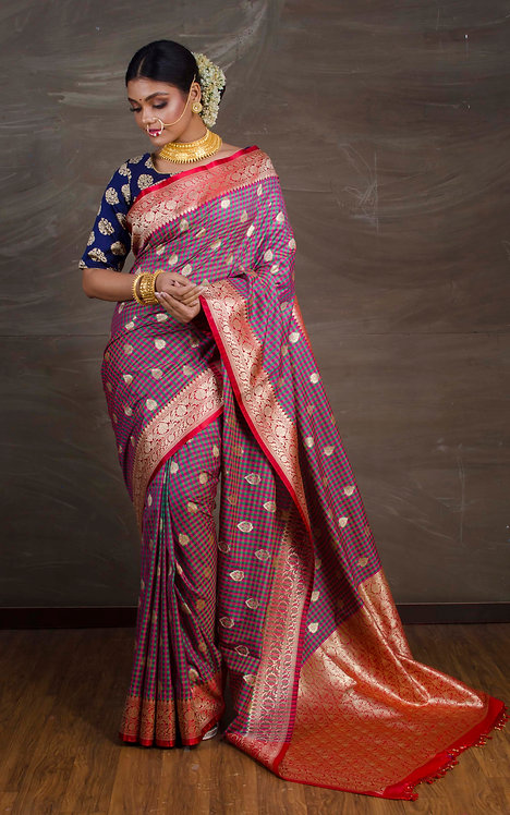Katan Silk Checks Banarasi Saree in Pink, Green and Red