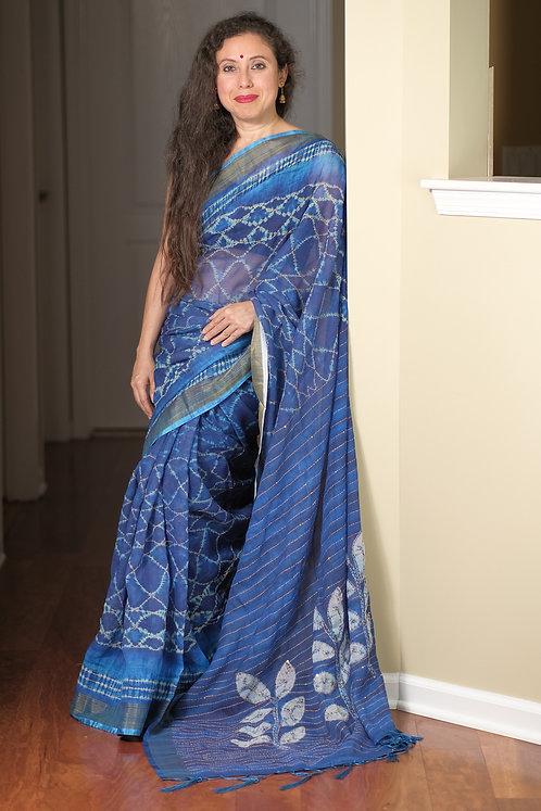 Neem Zari Work Batik Cotton Linen Saree in Blue