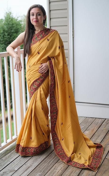 Semi Tussar Kashmiri Embroidered Saree in Yellow