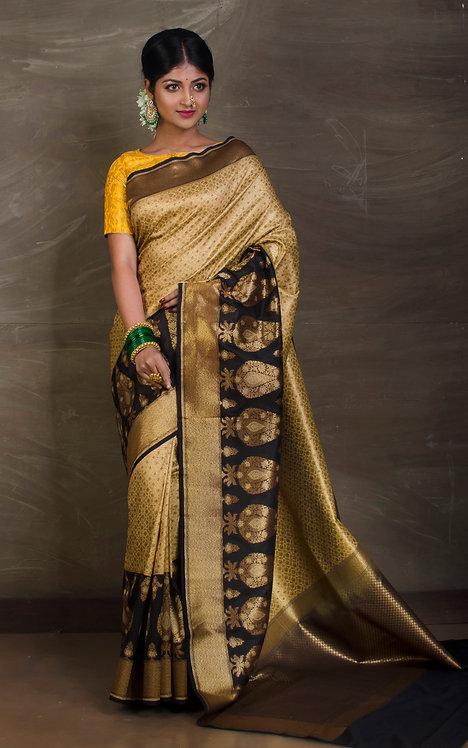 Semi Katan Brocade Banarasi Saree in Beige, Gold and Black