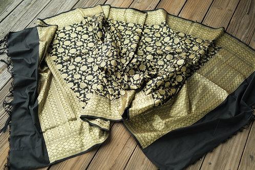 Banarasi Silk Dupatta in Black and Gold