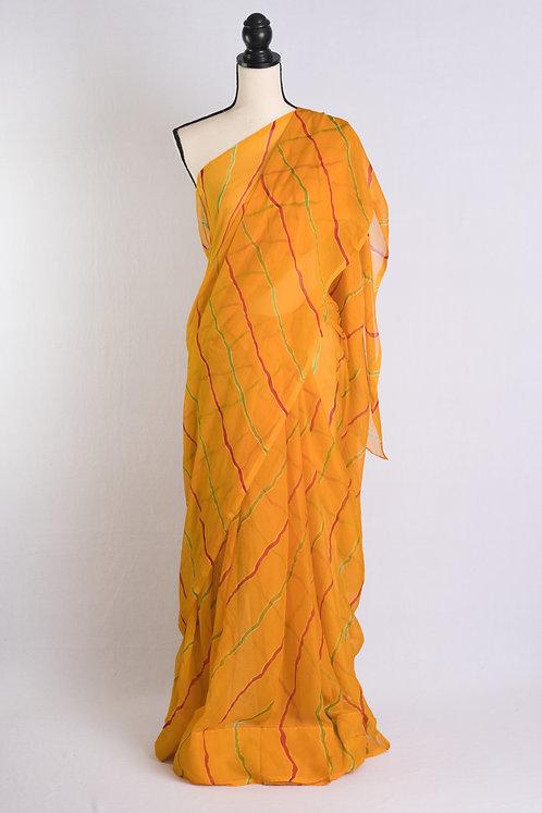 Chiffon Leheriya Saree in Yellow