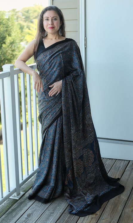 Ajrakh Saree on Pure Modal Silk with Natural Dye in Blue