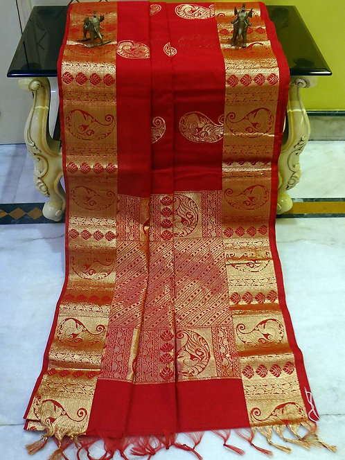 Blended Cotton Kanjivaram Saree with Starch in Vermilion Red and Gold
