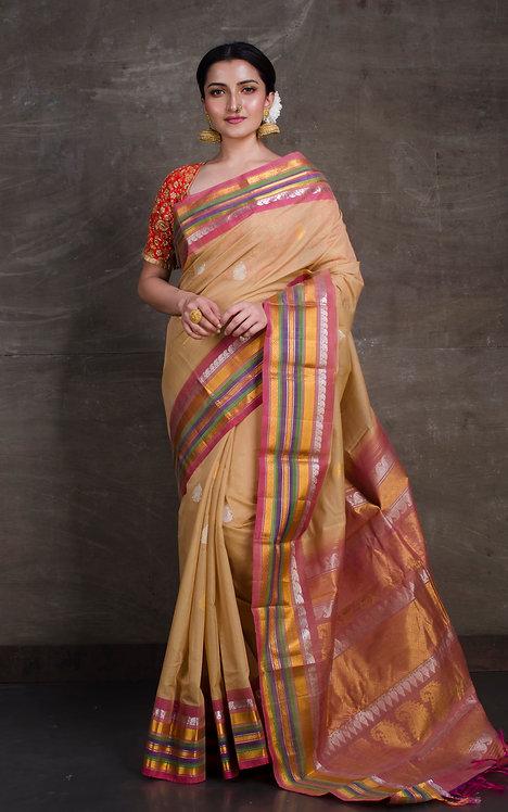 Pure Sico Gadwal Kuttu Saree in Biscuit Brown and Pink