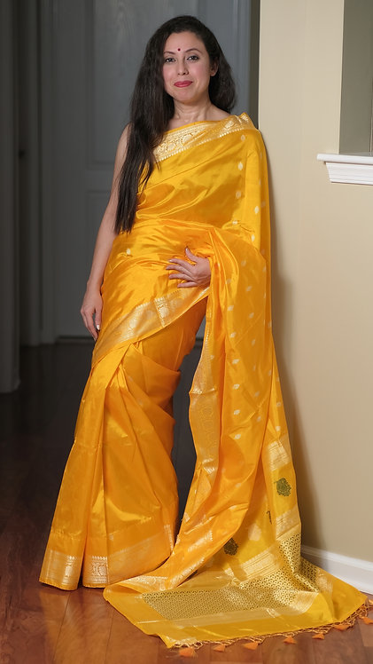 Pure Banarasi Silk Saree with Resham in Bright Yellow, Green and Gold