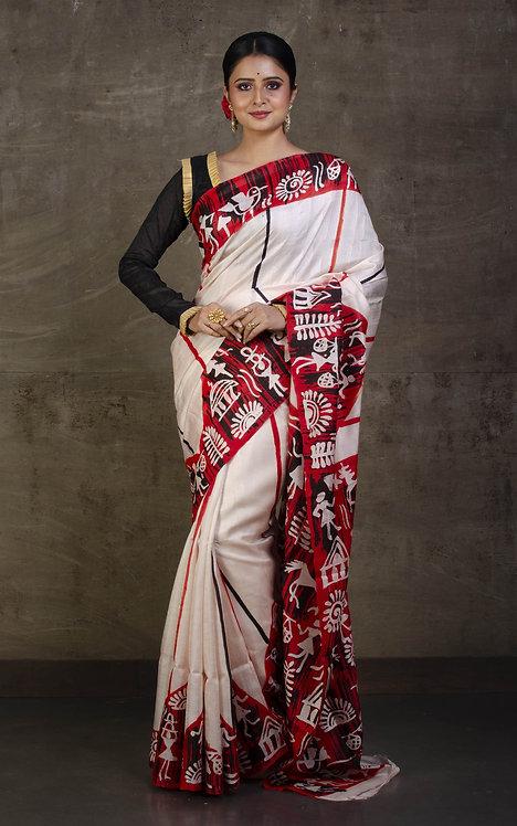 Hand Batik Pure Silk Saree in Cream, Brick Red and Dark Brown