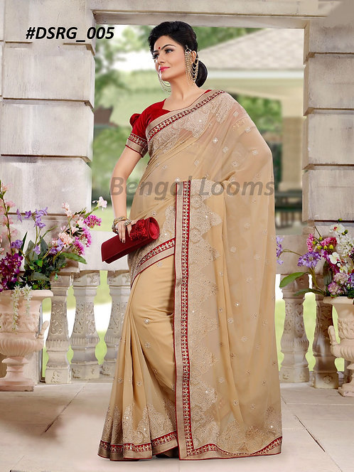 Embroidered Georgette Saree in Beige and Maroon