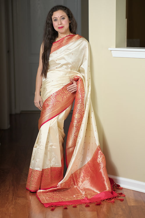 Pure Korial Banarasi Silk Saree in Off White, Red and Gold