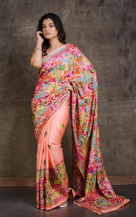 Kantha Stitch Pure Silk Saree in Orange