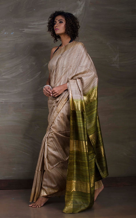 Gicha Tussar Silk Saree in Beige and Green