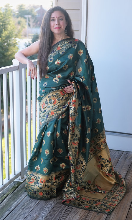 Art Silk Paithani Saree in Dark Green