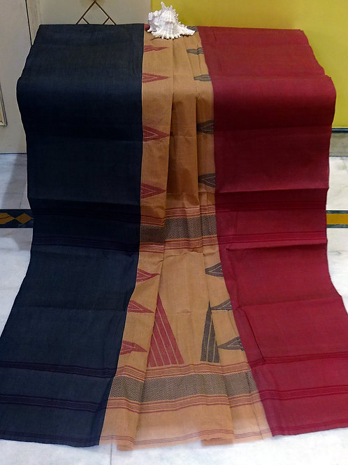 Bengal Handloom Cotton Saree with Starch in Brown, Dark Red and Black