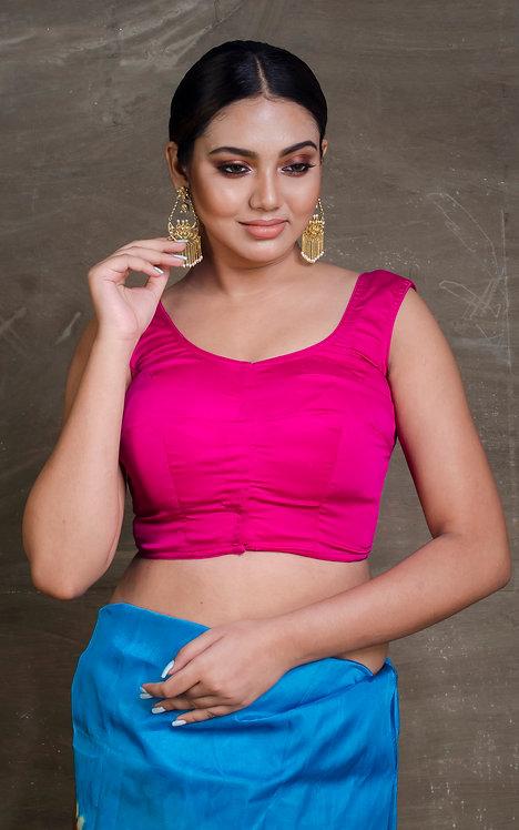 Dark Pink Sleeveless Designer Saree Blouse in Size 38