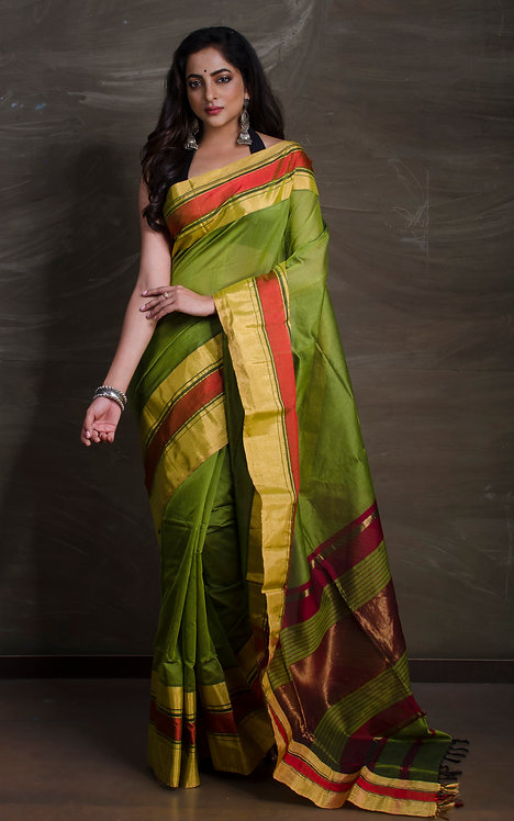 Maheshwari Cotton Silk Saree in Moss Green, Gold and Red