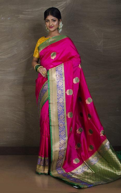 Minakari Pure Katan Banarasi Saree in Hot Pink, Blue and Green